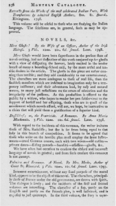 An entire page of reviews for Lane's novels. From The Critical Review's Monthly Catalogue (October 1798 second series, pp. 236)