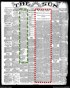Picture of The Sun newspaper showing one article within a column containing several articles, and one article split into several columns.