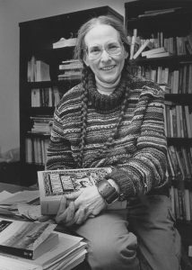 Black-and-white portrait of scholar Sally Mitchell
