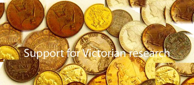 "A stock image of coins superimposed with ""Support for Victorian research"""
