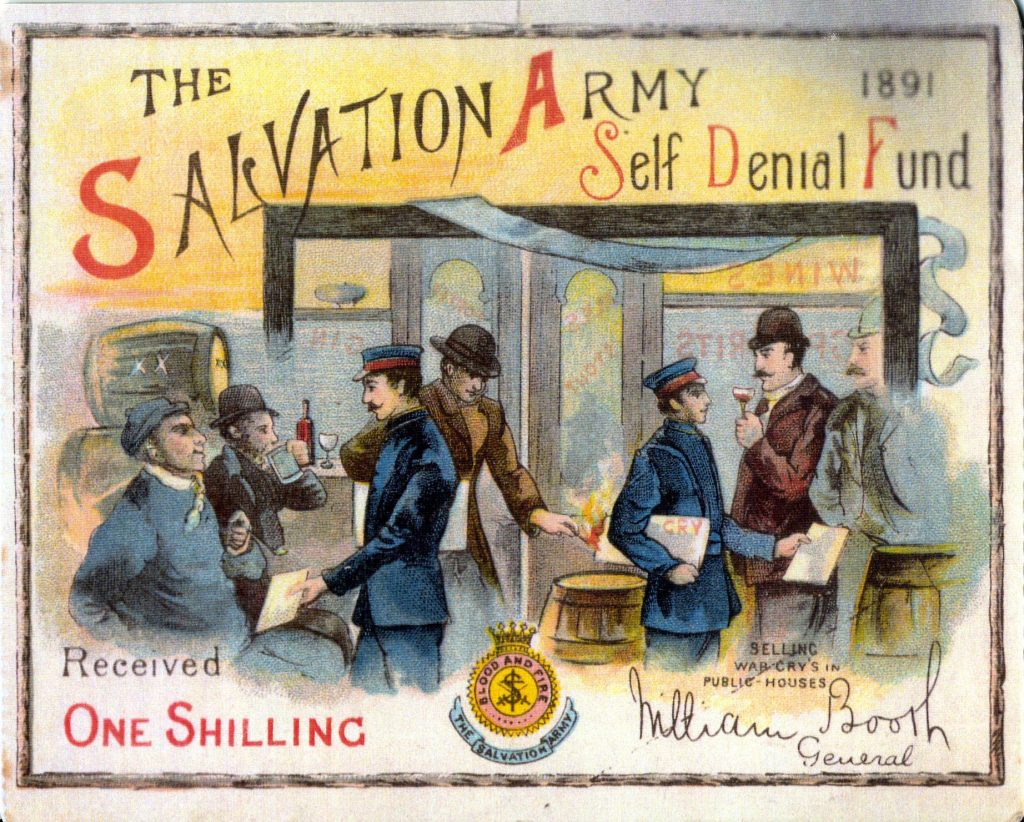 Illustrated card acknowledging one shilling donated to The Salvation Army Self Denial Fund 1891, depicting Salvationists selling War Crys to hostile drinkers in a pub.