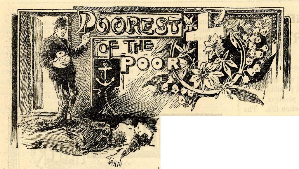 Illustration for an article titled 'Poorest of the Poor' showing a man entering a room to discover a dead woman lying on the floor.